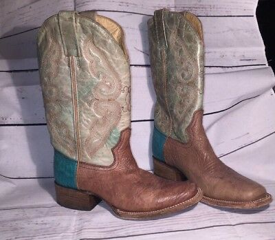 Corral Vintage brown & Turquoise leather square toe cowboy western boots 7.5
