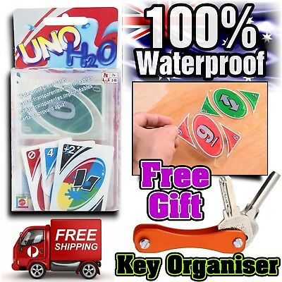 Classic UNO Cards H2o Waterproof Family Fun Holiday Poker Game Free Key Organise