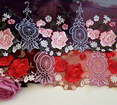 18 cm width Pretty Dark Blue/ Red Embroidery mesh Lace Trim