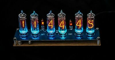 Nixie Clock IN-14 Tubes assembled walnut wood (WITH TUBES + ADAPTER)