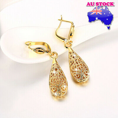 Wholesale 18K Yellow Gold Filled Antique Filigree Dangly Drop Earrings