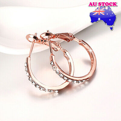 Wholesale 18K Rose Gold Filled Clear Cubic Zirconia Circle Hoop Earrings Gift