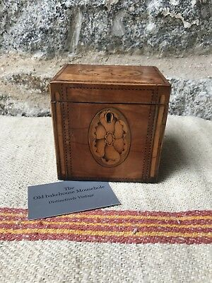 A Georgian Inlaid  Satinwood Single Tea Caddy