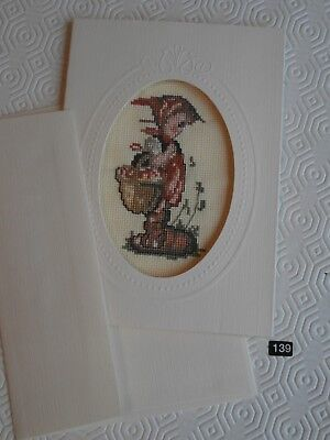 Hummel  Off To Town completed counted cross stitch picture card envelope