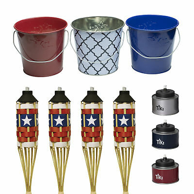 TIKI Brand TIKI Tin Table Torch Red, White, And Blue 3-pack And 17 Oz. Wax And