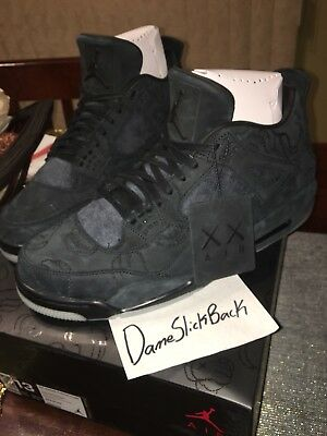 timeless design 0ed2d 32bf7 Air Jordan Retro 4 Black Kaws Sz 13 Ds 100% Authentic w  Dust Bag