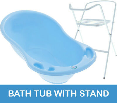 Baby Bath Tub Large 102Cm Thermomether Drain Eco Blue + White Stand