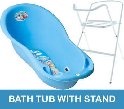 Baby Bath Tub Large 102Cm Thermomether Drain Cars Blue + White Stand