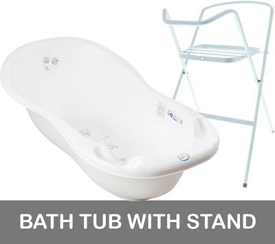 Baby Bath Tub Large 102Cm Thermomether Drain Owls White + White Stand
