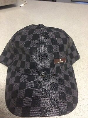 louis vuitton mens Black Checkered Hat With Tags