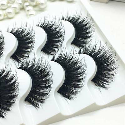 5 Pairs 100% Real Mink 3D Volume Corner Thick False Eyelashes Strip Lashes BY