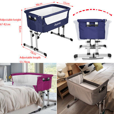 BABY Bedside Cot bed Crib + Mattress Next to Me From Birth Height Adjustable UK