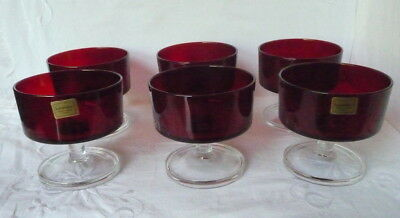Set of Six Red Glass Sundae Dishes Luminarc
