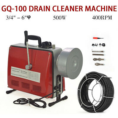 "New 3/4""-6""Ø Spiral Pipe Drain Cleaner Cleaning Machine Commercial Sewage"