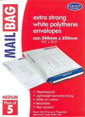 County 5 Pack Medium Mail Bags Polythene. C261