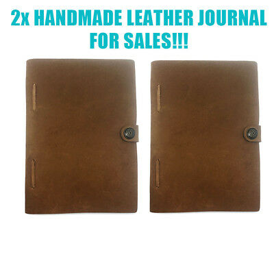 2x HANDMADE LEATHER JOURNAL TRAVEL DIARY STITCHED TRAVELERS NOTEBOOK HAND MADE