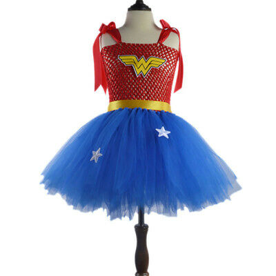 Kids Girls Wonder Woman Fancy Dress Cosplay Costume Party Tutu Sundress Outfits