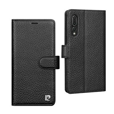 PIERRE CARDIN Litchi Grain Genuine Leather Wallet Stand Case for Huawei P20
