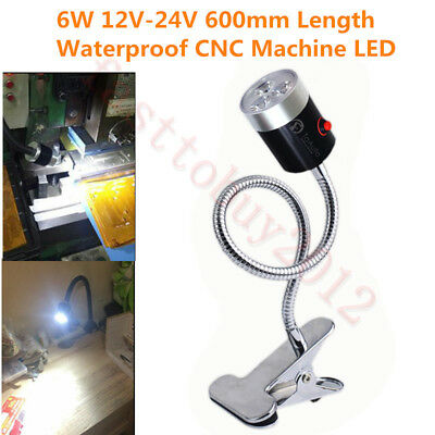 6W CNC Machine LED Lamp Working Light Flexible Clamp Base Waterproof 6500K 600mm
