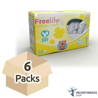 Freelife Bebe Cash - Baby Nappies - Newborn 1 - Case - 6 Packs of 28