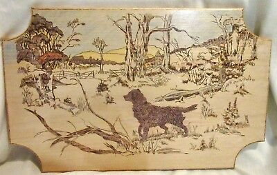 VINTAGE PYROGRAPHY WOOD Wall Plaque - Hunting Dog Scene - Wood Burning Art