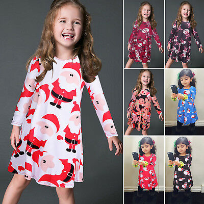 526cbc9ab Kids Baby Girls Toddler Long Sleeve Party Holdiday Christmas Xmas Skater  Dress