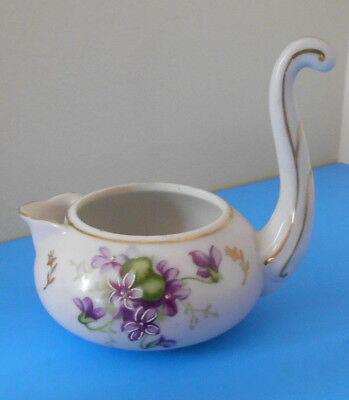 Fancy antique Pink porcelain creamer w painted Violets & gold accents-Unique