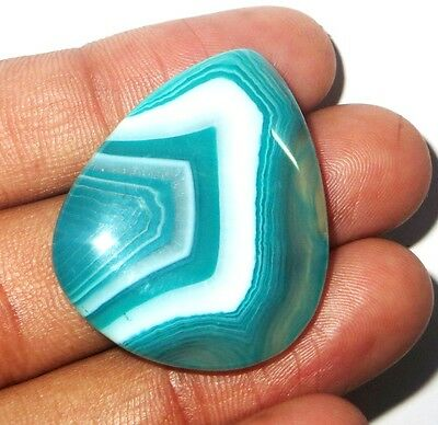 38Cts. AAA Natural design Green banded onyx pear A++ cabochon gemstone 875