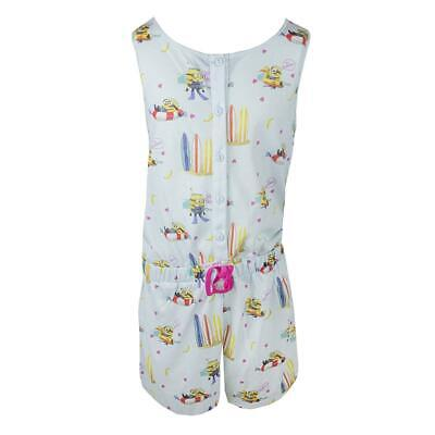 Girls Minions Surfboard Shorts Playsuit Summer Cotton Romper 7 to 16 Years