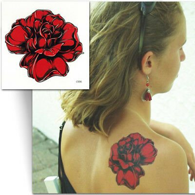 ►GRAND TATOUAGE TEMPORAIRE ROSE ROUGE (Faux tattoo, décalcomanie femme)◄