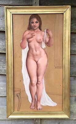 Large Original Nude Oil Painting In Gold Gilt Frame