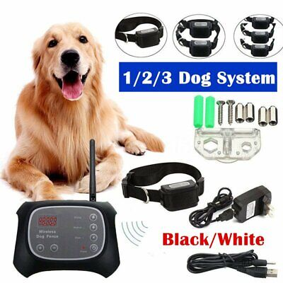 Wireless Dog Fence Pet Containment Waterproof Electric Transmitter Collar BT#