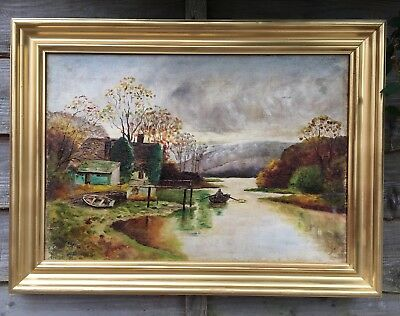 Large Victorian Oil On Canvas Painting In Gold Gilt Frame, Signed Allison