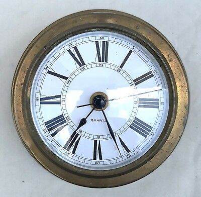 Lovely Minature Ships Bulk Head Clock With Brass Case Quartz Battery Powered