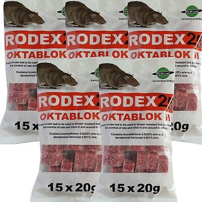 Rodex 25 Oktablok Wax Block Rat Poison 5 x 300g Rodenticides Pest Control Vermin