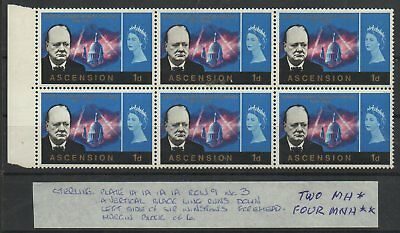 (192) Ascension 1966 Winston Churchill 1d plate block of 6 (four MNH**- two MH*)