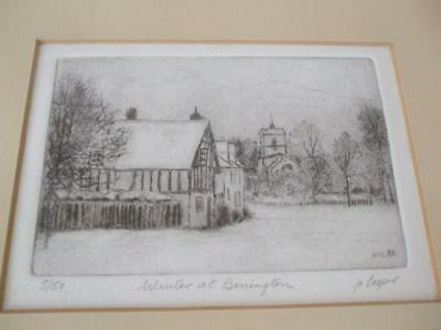 DRY POINT ENGRAVING WINTER AT BENINGTON HERTFORDSHIRE by Jo Cooper 1984