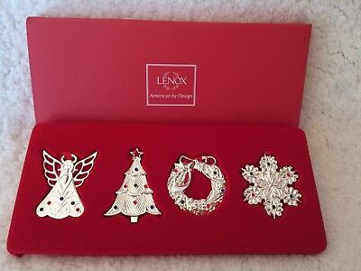 NEW Lenox Silver Plated Seasonal Gems Christmas Ornaments Set of 4 New in Box