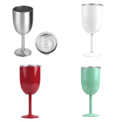 Goblets Stainless Steel Double Walled Wine Glass with Removeable Sliding Lid EK