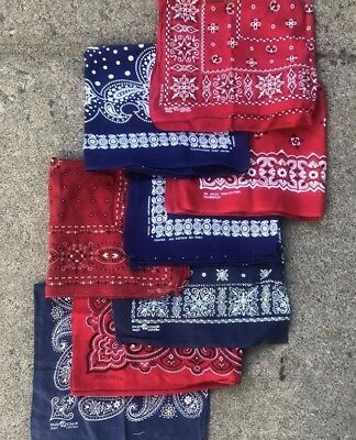 Lot of 8 Vintage Blue/Red Cotton Fast Color Workwear Bandanas Elephant Tower