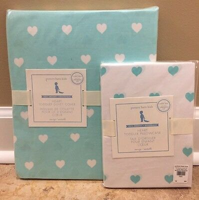 NEW 2PC Pottery Barn Kids Heart TODDLER Duvet + Sham AQUA