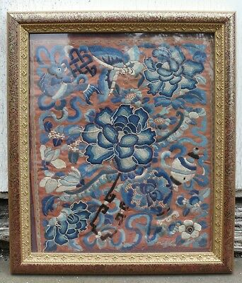 A Chinese Silk Embroidered Panel within a Glazed Frame