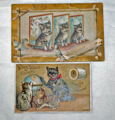 Two Advertising Trade Cards Lion Coffee Cat Cats & J&P Coats Thread Cats