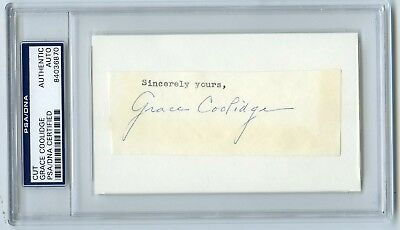First Lady Grace Coolidge Calvin Wife Signed Card PSA/DNA Slabbed