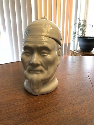 Antique Chinese White Jar Porcelain Mans Face Scholar Tobacco Canister Fan Mark