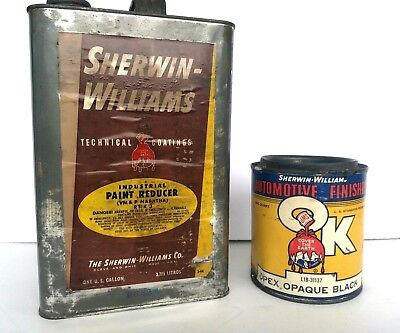 Vintage Advertising SHERWIN WILLIAMS Co Paint Can Auto Finish & Paint Reducer