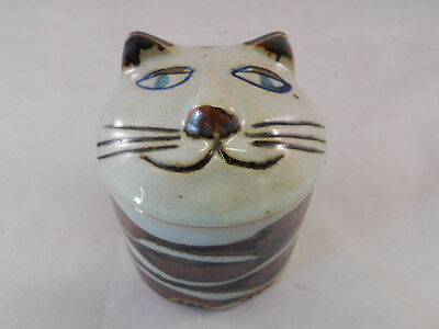 Vintage Takahashi Cat Kitten Pottery Trinket Coin Jewelry Jar Box with Lid