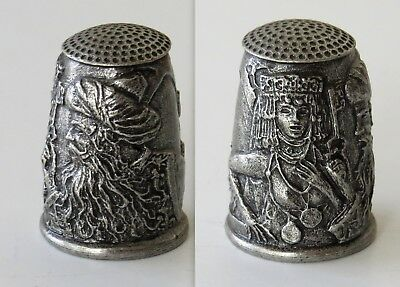 Old Pewter Thimble-Moorish-Indian-Man with Beard.