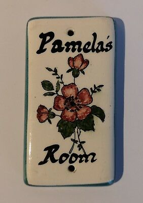 LOVELY quality hand painted 'Pamelas Room' ceramic bedroom sign. Toni Raymond
