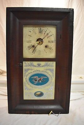 Antique Early American Chauncey Jerome With Auston Il. Label Weight Driven Clock